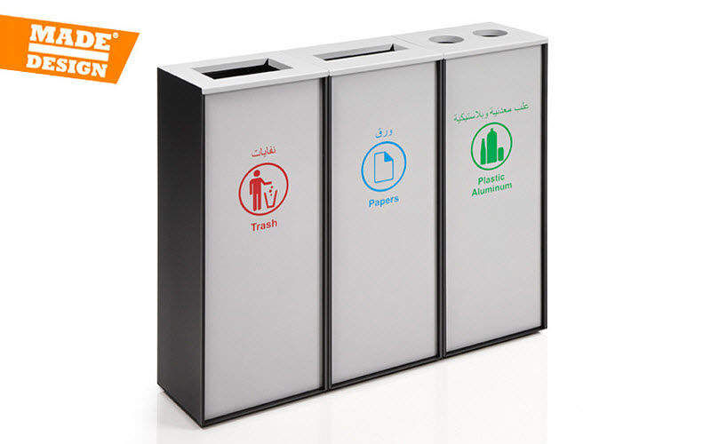 Made Design Cubo de basura con tres divisiones Accesorios del fregadero Cocina Accesorios   