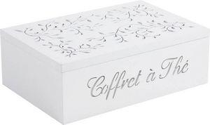 Aubry-Gaspard - coffret � th� en bois blanc 6 compartiments 24,5x1 - Lata De T�