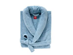 BLANC CERISE - peignoir col châle - coton peigné 450 g/m² bleu g - Albornoz