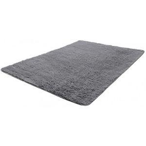 WHITE LABEL - tapis salon gris poil long taille s - Alfombra Contemporánea