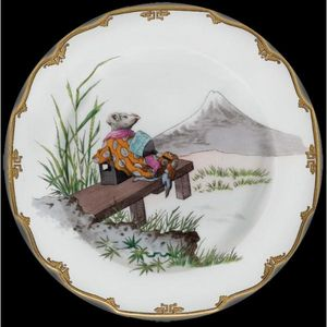 Au Bain Marie - assiette décorative en tôle souris mont fuji - Plato Decorativo