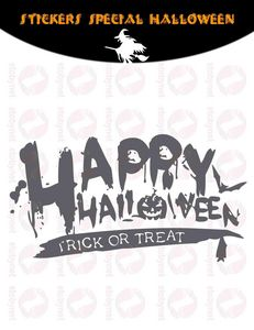 WHITE LABEL - sticker happy halloween - Adhesivo
