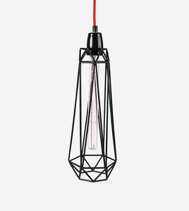 Filament Style - diamond 2 - suspension noire câble rouge ø18cm | l - Lámpara Colgante