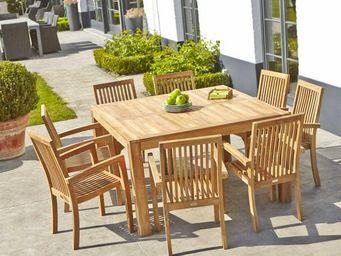 BOIS DESSUS BOIS DESSOUS - salon de jardin en bois de teck midland 8 places - Comedor De Exterior