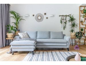 BOBOCHIC - canapé d'angle anti-tache fixe boho bleu beige angle gauche - Sofá De Esquina