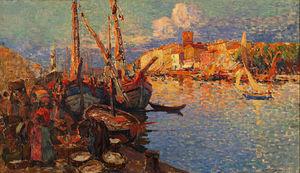 AIX-EN-PROVENCE ANTIQUITES - le port de sète - Óleo Sobre Tela Y Óleo Sobre Panel