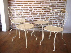 L'atelier tout metal - 4 chaises de jardin pliantes en fer - Silla De Jardín