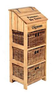 Aubry-Gaspard - meuble en pin et rotin à légumes 35x31x90cm - Mueble De Cocina