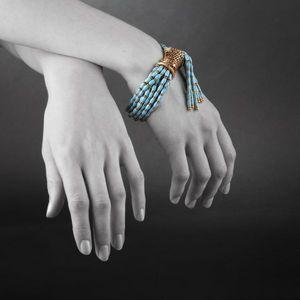 Expertissim - bracelet en or, rubis, émail et perles de verre. v - Pulsera