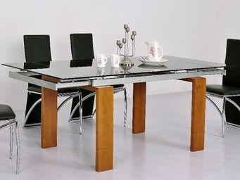 CLEAR SEAT - table en verre noire à rallonge extensible timor - Mesa Extensible