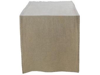 Athezza - chemin de table lin lav� beige 50x150cm - Centro De Mesa