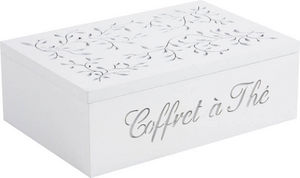 Aubry-Gaspard - coffret à thé en bois blanc 6 compartiments 24,5x1 - Lata De Té
