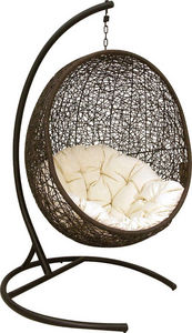 Aubry-Gaspard - fauteuil balancelle oeuf en polyrésine et acier 10 - Columpio