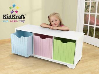 KidKraft - banc de rangement en bois avec tiroirs pastels 99x - Ba�l Para Juguetes