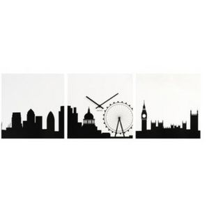 Present Time - horloge london skyline - Reloj De Pared