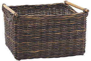 Aubry-Gaspard - corbeille à bûches en poelet croco 53x45x33cm - Portador De Troncos