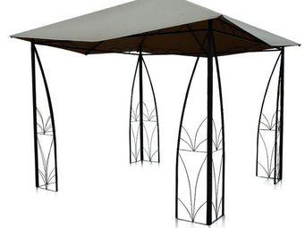 OZALIDE - gloriette arabesque en polyester taupe et aluminiu - Cenador
