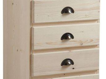 BARCLER - chiffonnier en bois brut 5 tiroirs 53x92x40cm - Semanario