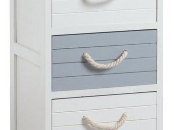 Aubry-Gaspard - commode 3 tiroirs océan en medium 35x28x58cm - Mesa De Noche
