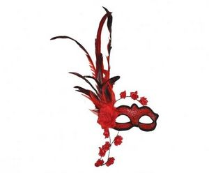Demeure et Jardin - masque loup vénitien plumes et fleurs rouges - Máscara