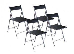 WHITE LABEL - belfort lot de 4 chaises pliantes noir - Silla Plegable