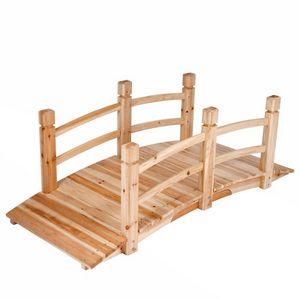WHITE LABEL - pont de jardin bois passerelle 140 cm - Puente
