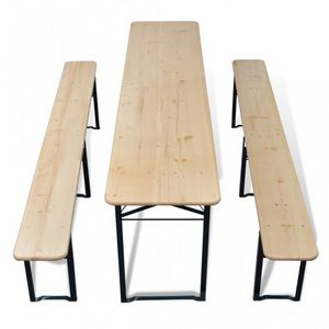 WHITE LABEL - table + 2 bancs pliable avec trou parasol - Mesa De Picnic