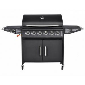 WHITE LABEL - barbecue à gaz 6 brûleurs avec thermomètre - Barbacoa De Gas