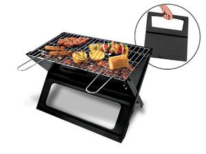 WHITE LABEL - barbecue pliant slim transportable deco maison ust - Barbacoa Portable