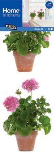 Nouvelles Images - sticker fenêtre géranium rose - Adhesivo
