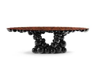 BOCA DO LOBO - newton black walnut - Mesa De Comedor Ovalada