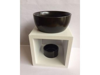 Drake - brûle parfum carré bois blanc et céramique noir - Quemador De Perfume