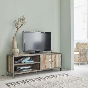 BOIS DESSUS BOIS DESSOUS - meuble tv en bois de pin recyclé et métal 150 vint - Mueble Tv Hi Fi