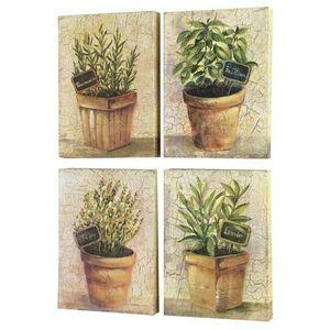 CHEMIN DE CAMPAGNE - 4 tableaux cadres en bois peint plantes aromatique - Cuadro Decorativo