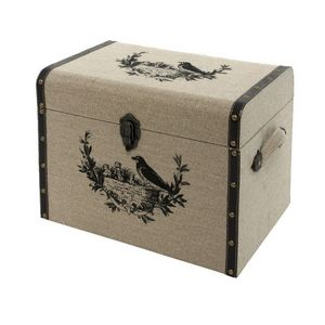 CHEMIN DE CAMPAGNE - coffre malle boîte de rangement bois toile de jute - Baúl