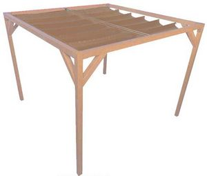 jardindeco - pergola autoportante bois douglas toile sable 4 x  - Pérgola