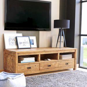BOIS DESSUS BOIS DESSOUS - meuble tv en bois de teck recyclé 160 cargo - Mueble Tv Hi Fi