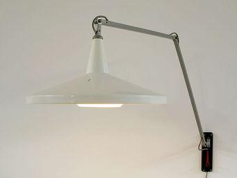 FURNITURE-LOVE.COM - wim rietveld white panama industrial swing lamp - Lámpara De Lectura