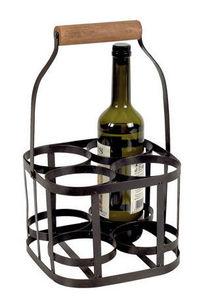 Aubry-Gaspard - sac pour quadri flacon en fer et bois - Botellero