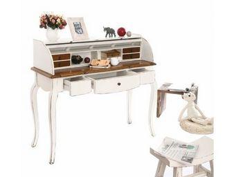 Miliboo - bureau baroque bois blanc sofia - Escritorio Femenino