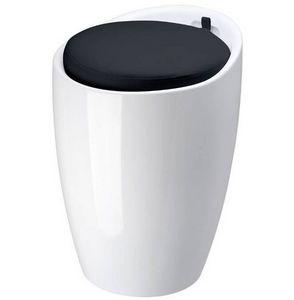 La Chaise Longue - pouf pop blanc en abs avec coussin noir 36x51cm - Taburete
