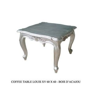 DECO PRIVE - table basse baroque argentee 60 cm - Mesa Auxiliar