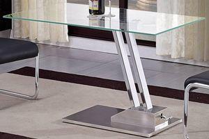 WHITE LABEL - table basse relevable step en verre transparente s - Mesa De Centro De Altura Regulable