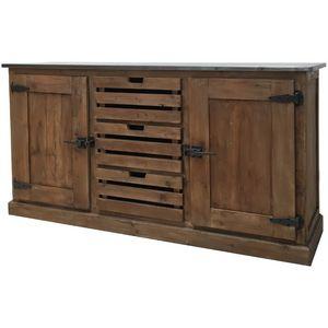 CHEMIN DE CAMPAGNE - meuble bahut enfilade en pin recyclé à tiroirs cag - Aparador Bajo