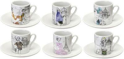 La Chaise Longue - Taza de café-La Chaise Longue-Coffret 6 tasses à café en porcelaine les parisien