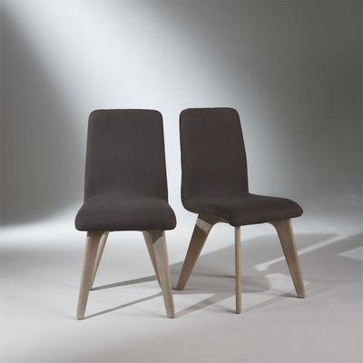 Robin des bois - Silla-Robin des bois-Chaises, chêne, lin gris, pieds fuselés, SIXTY