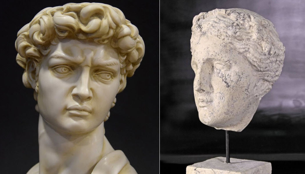 DECORAR CON ARTE Scultura testa umana Statue Arte  |