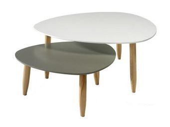 WHITE LABEL - tables gigognes blanc/gris - ovni - l 80 x l 80 x - Tavolini Sovrapponibili