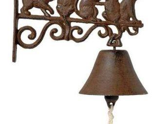 Antic Line Creations - cloche de jardin 5 chatons en fonte 19,2x20,5x4cm - Campanella Da Esterno