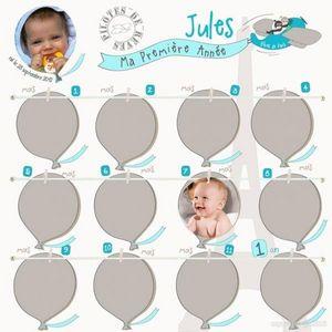 BABY SPHERE - pêle-mêle photo 1ère année envolée de ballons - Cornice Multipla Bambino